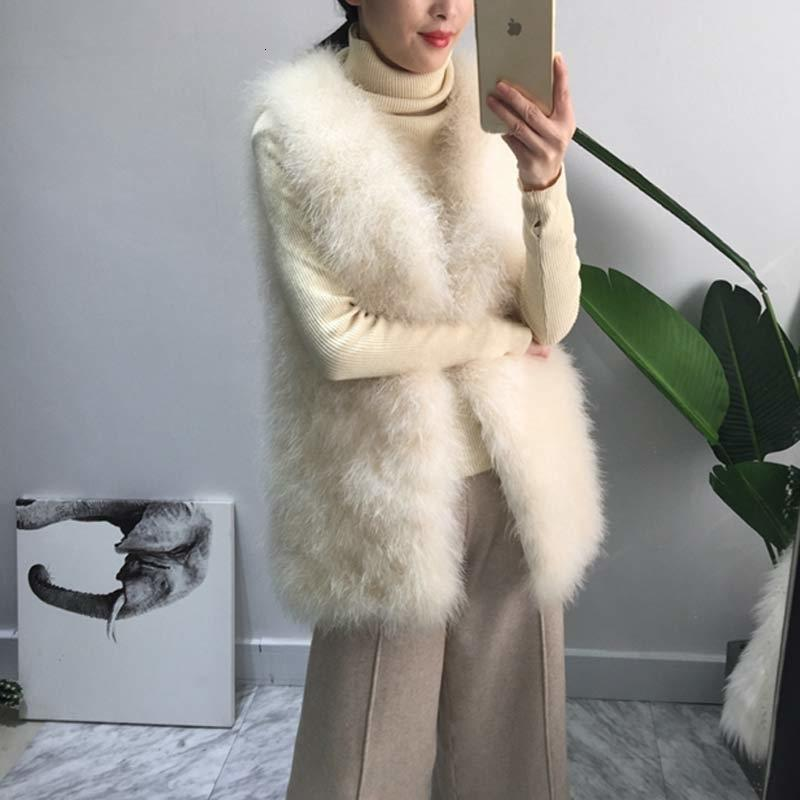 Long Real Fur Gilet Hand-knitted Natural Ostrich Feather Fur Waistcoat High Quality Genuine Fluffy Fur Fever Vest Charcoal Grey T191119