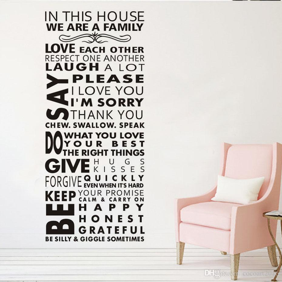 1 Pcs In This House We Are Family Large Size Removable Wall Sticker Decal Vinyl Self Adhesive Home Decor For Kids Rooms
