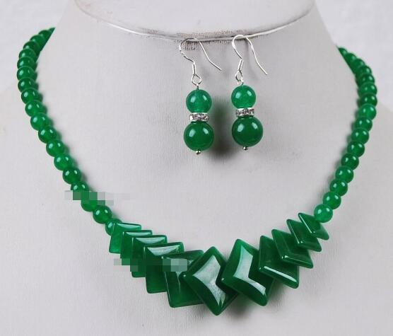 Jewelryr Jade Conjunto Natural Verde pedra Beads Jóias Colar Brincos Definir Frete Grátis