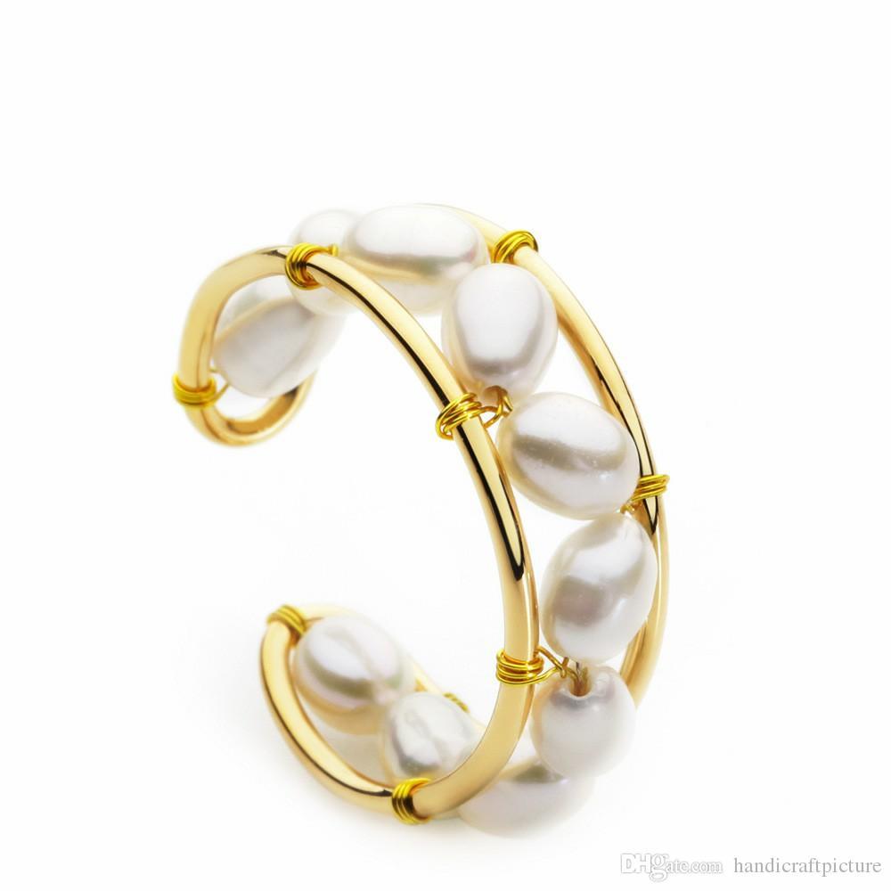 Designer di lusso Gioielli Donne anelli eleganti anelli di perle di polsino con guscio retrò poumplar vecchi braccialetti di design