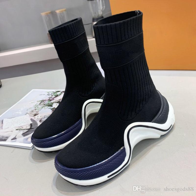 Calzado de diseño damas botas planas de alta calidad calcetines de punto zapatos deportivos casuales mujeres de los cargadores de la manera al botines de lujo con la caja