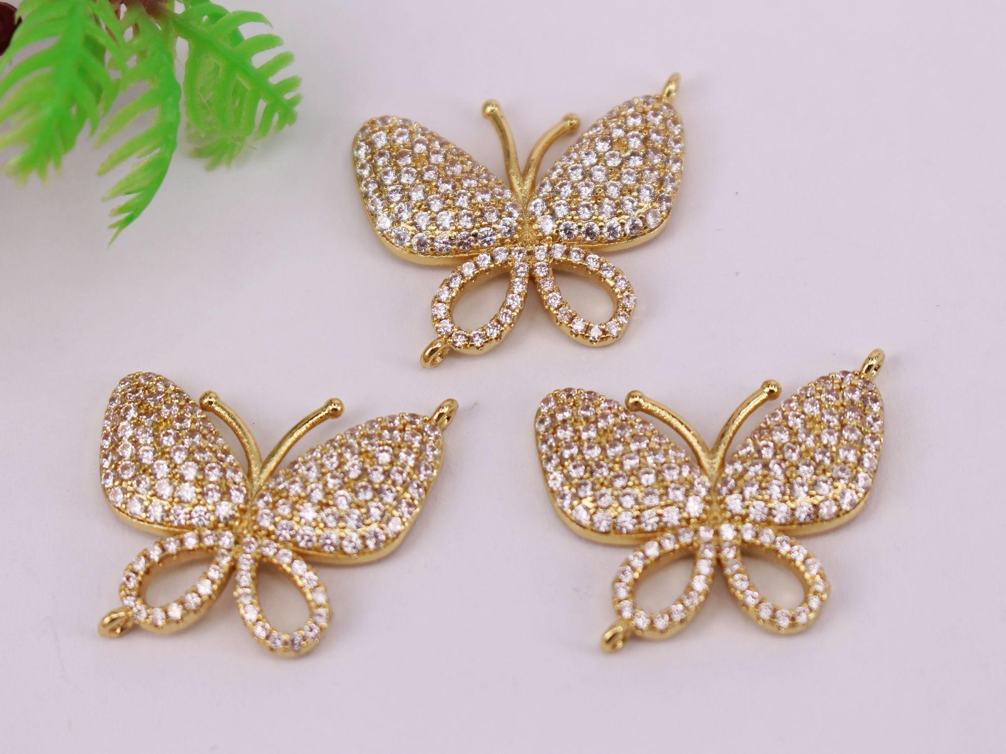 CALIENTE 10Pcs 21x25mm chapado en oro / perlas de circón conector colgante / pulsera / collar de joyas, la forma de la mariposa de metal del cobre blanca CZ