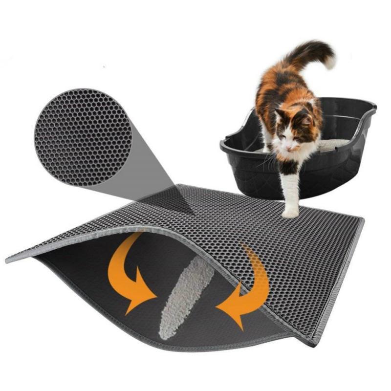 Cat Pet Mat Litter Waterproof EVA Duplo Litter Cat camada de captura do animal de estimação da caixa de maca Mat Clean Products Pad para gatos Acessórios