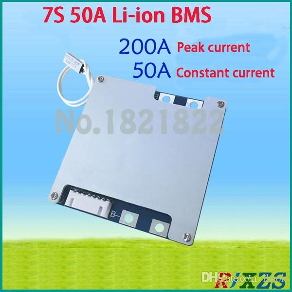 Freeshipping 7S 50A 25.9V 29.4V li-ion BMS PCM battery protection board bms pcm with balancing for LicoO2 Limn2O4 24V li battery