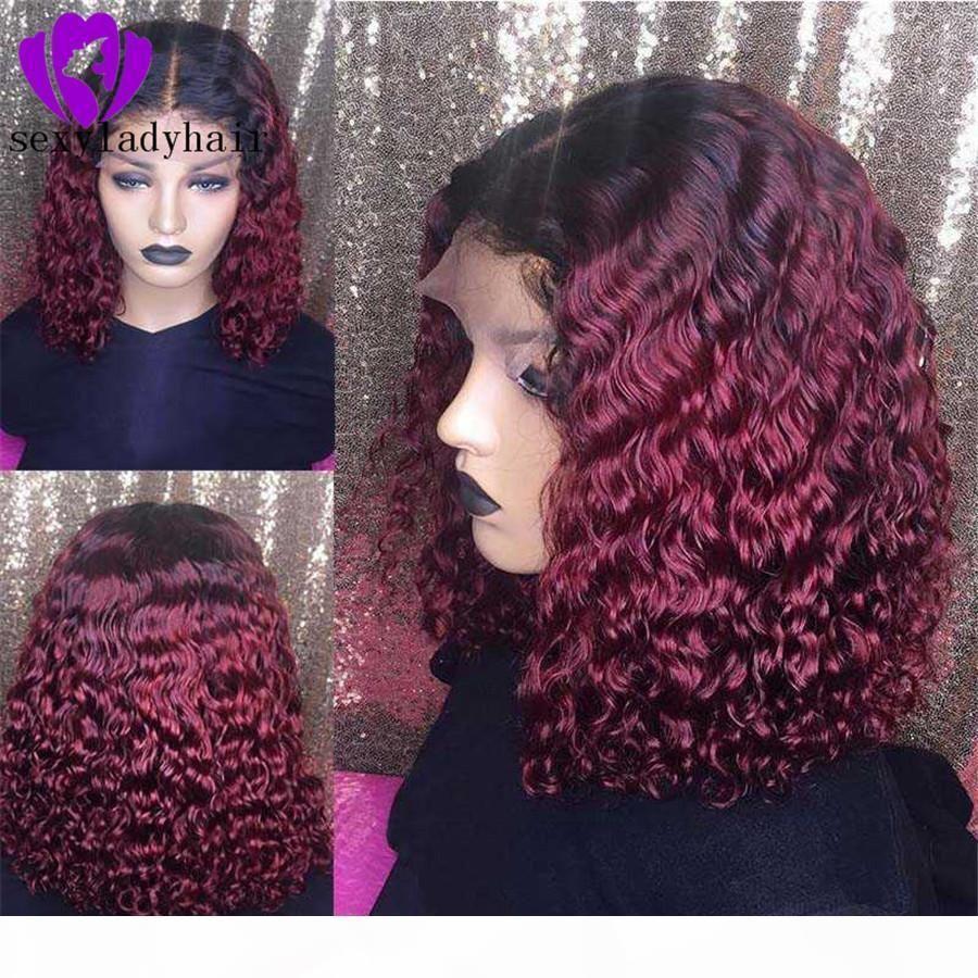 Cosplay Partystyle parte anteriore del pizzo Donne A New Ombre Wine Red Lace anteriore parrucche Breve riccio crespo Wigss per il nero sintetico dei capelli Wigss