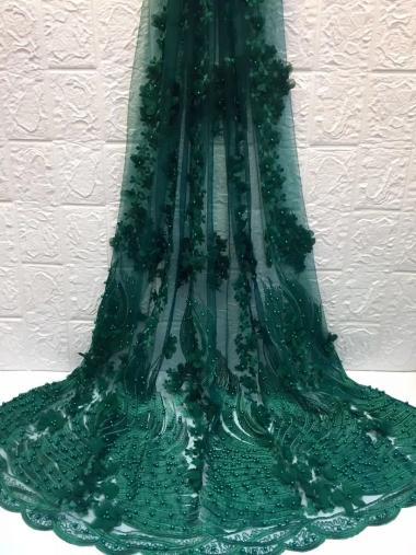 Dentelle de tulle brodée par fleur africaine 3d verte, tissu africain de dentelle de perles HZH119 (2) dentelle de haute qualité avec des perles pour la robe de soirée