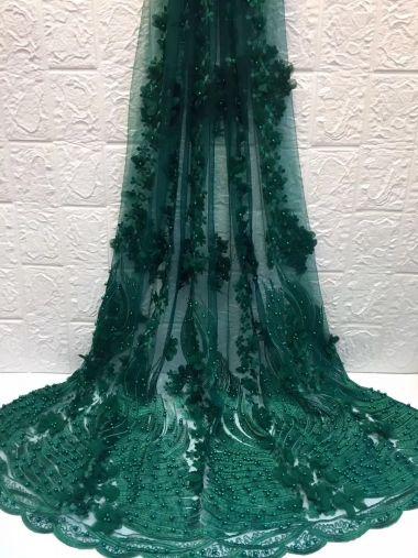 VERDE flor africana 3d bordado encaje de tul, perlas tela africana del cordón HZH119 (2) encaje de alta calidad con cuentas para vestido de fiesta