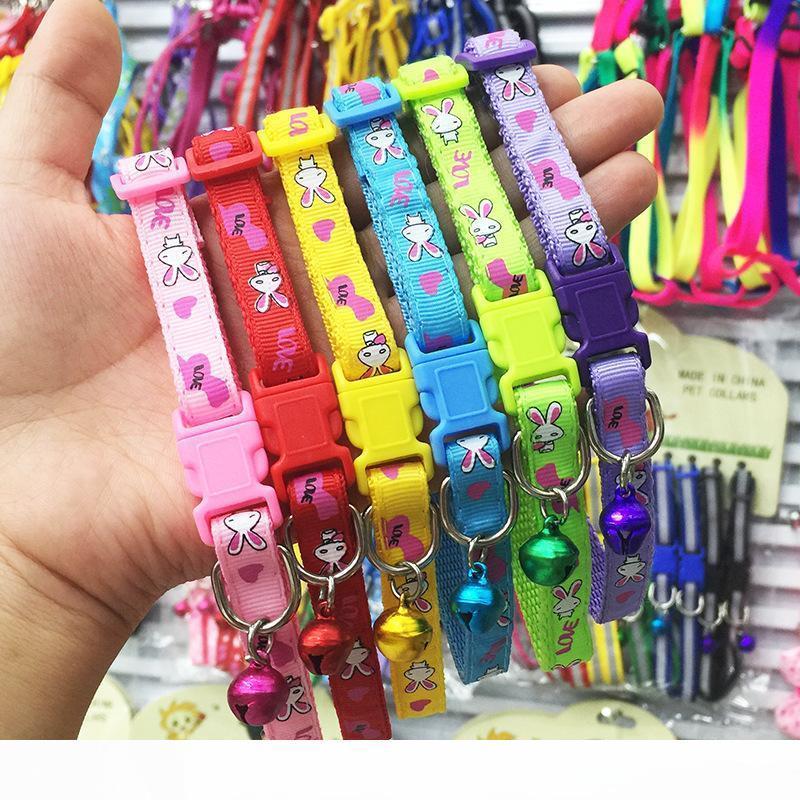 1,0 centimetri Larghezza Cani di piccola taglia collare del gatto del cucciolo di nylon cotone Immagine Pet Dog Collar Collana con accessori per la campana per il cane