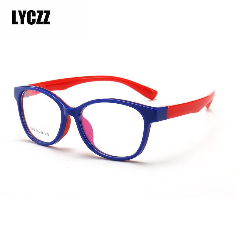 LYCZZ Optical Flexible Super Light Kids frames eyewear Optical glasses for kids Child clear eyeglass TR90 Silicone Boys girls