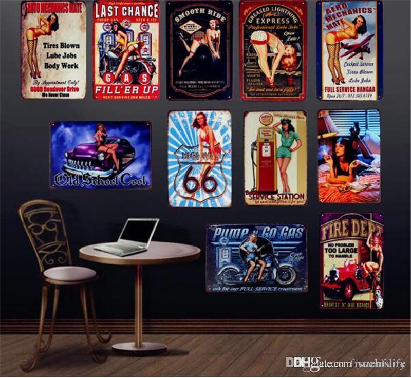 Lady Sexy Com Car Gas Motor Oil decoração da parede Suave passeio de metal retro pub sinais placas Bar Início Art presente clássico da garagem