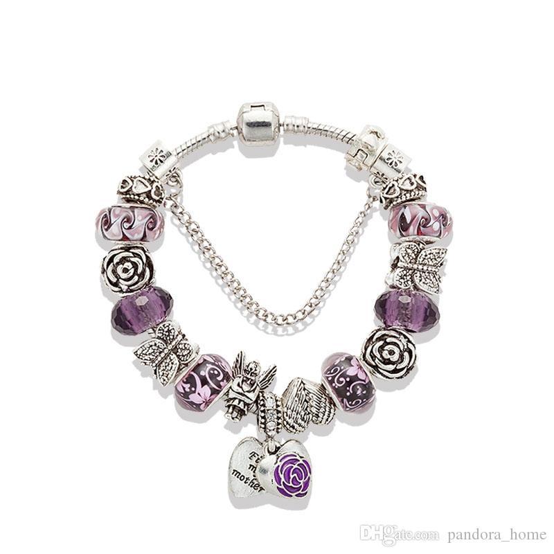 Delicate Purple Crystal Pendant Bracelet Suitable for Pandora Silver Plated Original Box Set DIY Angel Butterfly Charm Beaded Bracelet