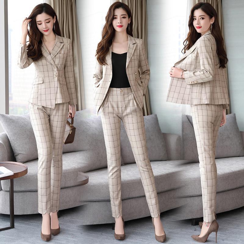 Neue 2019 Frauen Elegante Hosenanzug Plaid anzug pantst 2 Stück Set Frauen Plaid Jacke Blazer Büro Dame Arbeitskleidung Sets