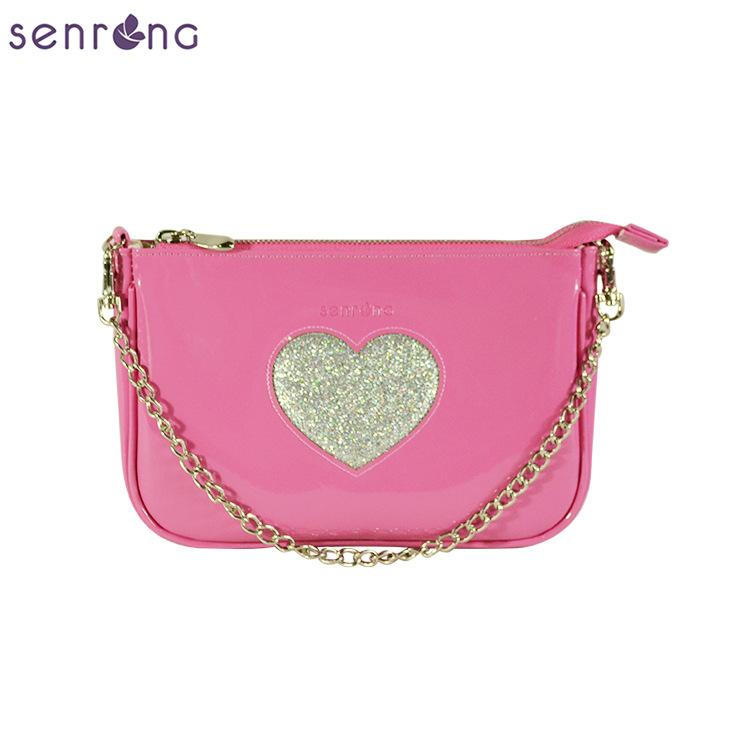 2010 nueva bolsa hembra de la manera brillante bolso de mano de brillo en forma de corazón sólido de color bolso del mensajero del hombro cadena Amazon