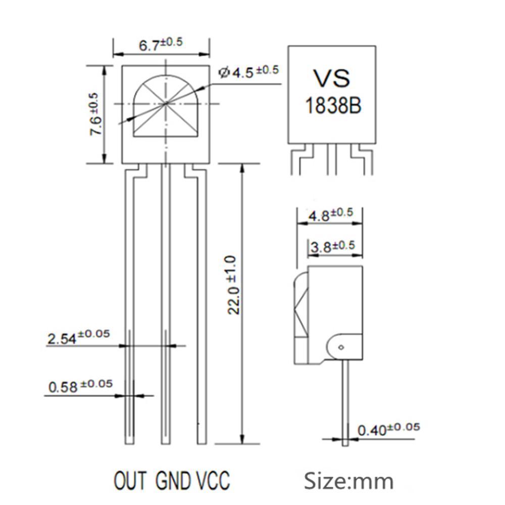 10pcs Universal IR Infrared Receiver TL1838 VS1838B 1838 38Khz wholesale