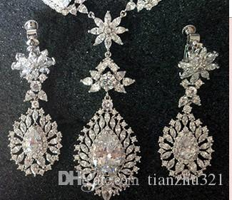 wonderful high quality low price white cplor diamond crystal s drop bride wedding jewelry set necklace earings (165)nm