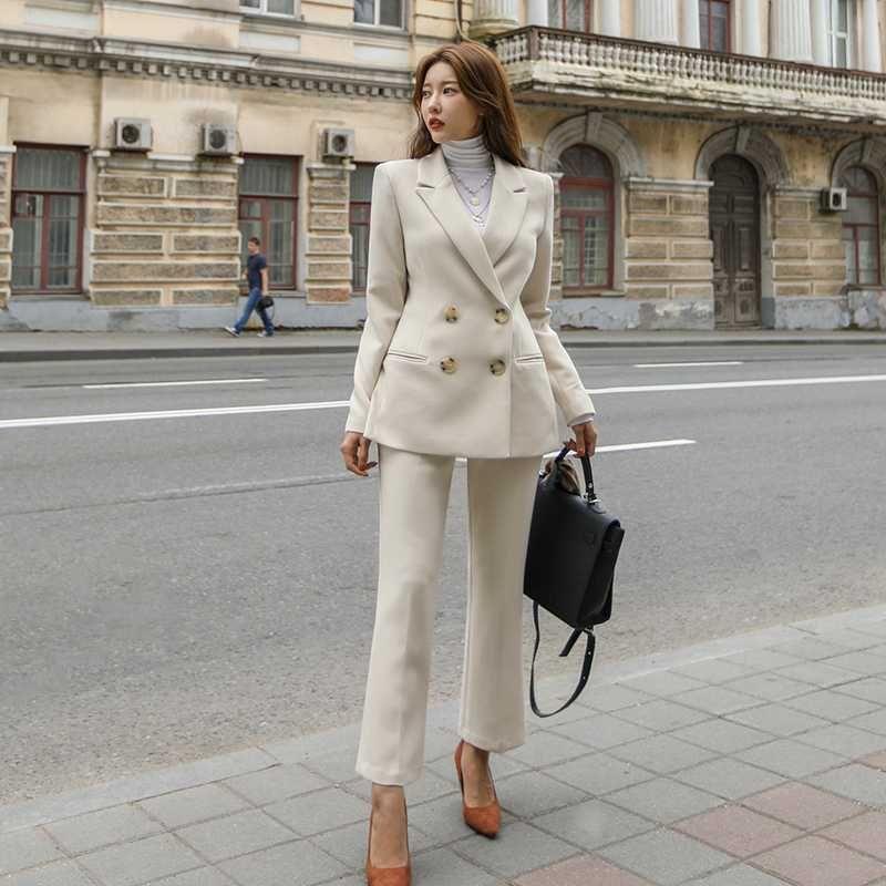 Pantalons Costumes femme élégante Fashion Casual Version coréenne de la nouvelle hiver Slim-Fit Costume britannique Femme Style Business Set