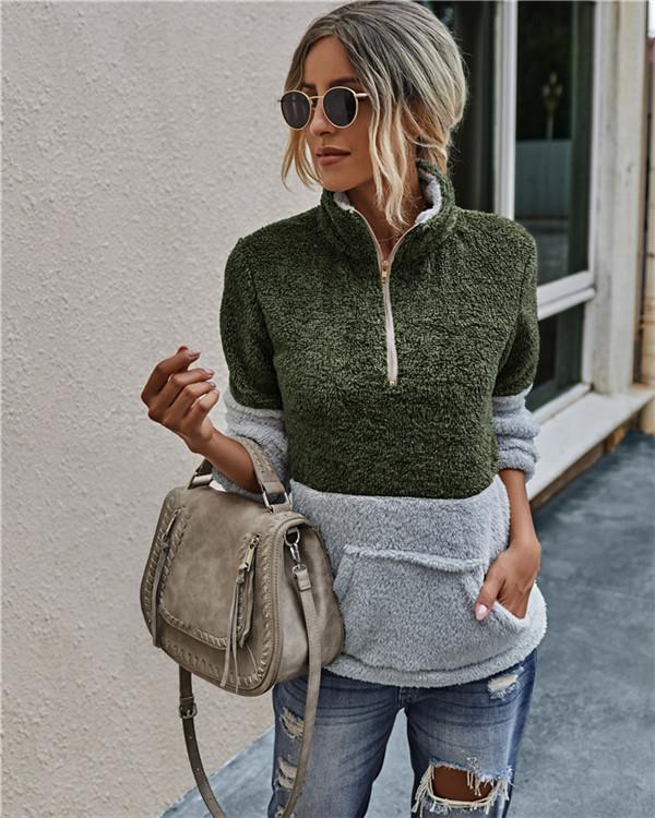 Turtle Neck Womens Plush Hoodies with Zipper Autumn Loose Long Sleeve Pullover Women Designer Clothing Casual Patchwork Ladies Sweatshirts