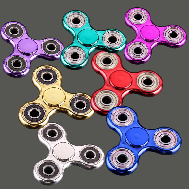 2017 Metallic Color Plated EDC Fidget Spinners Rotate Hand Spinner Decompression Toys Black Gold Finger Toy Funny Toy OTH378