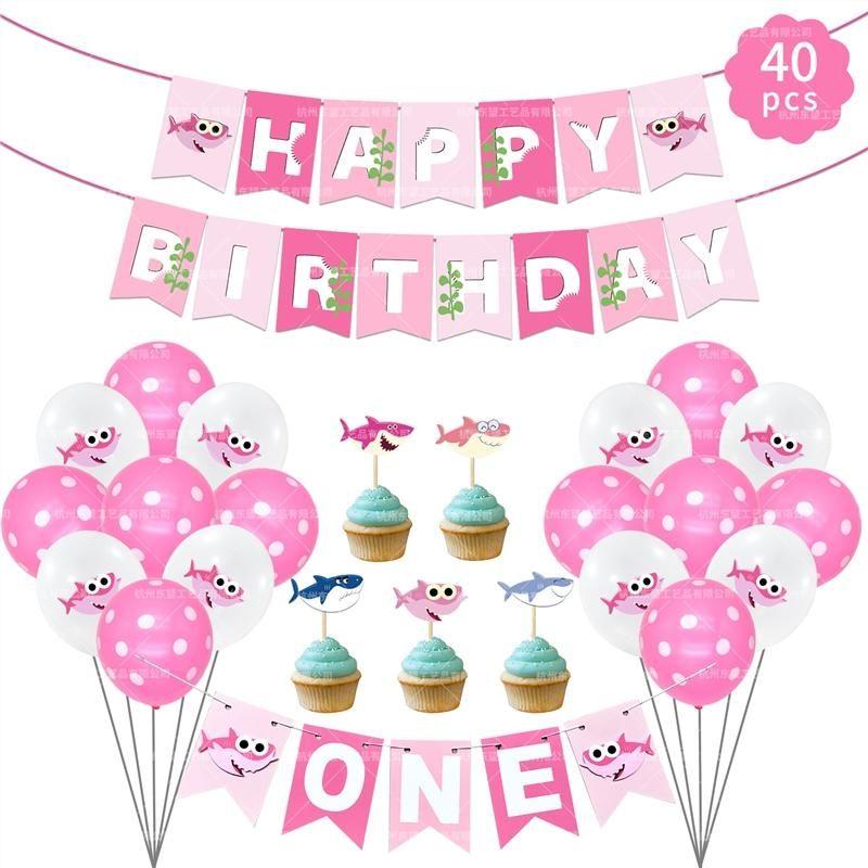 Pembe Köpekbalığı Bebek doğum günü partisi Folyo Lateks Balonlar Doğdun Dekorasyon Çocuk Doğum Bebek Dekor Aksesuarları Malzemeleri