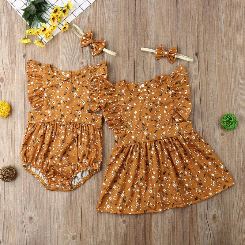 2020 ropa de vestir Big Sister nuevo juego del niño de los niños del bebé pequeño / del partido del mono floral de Boho Romper