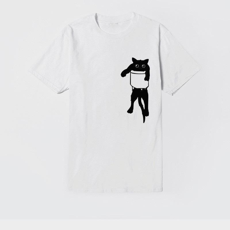 manera de las mujeres camiseta impresa de la etiqueta en el pecho de las mujeres del bolsillo del gato camiseta de gran tamaño de las mujeres de manga corta camiseta de la moda de algodón