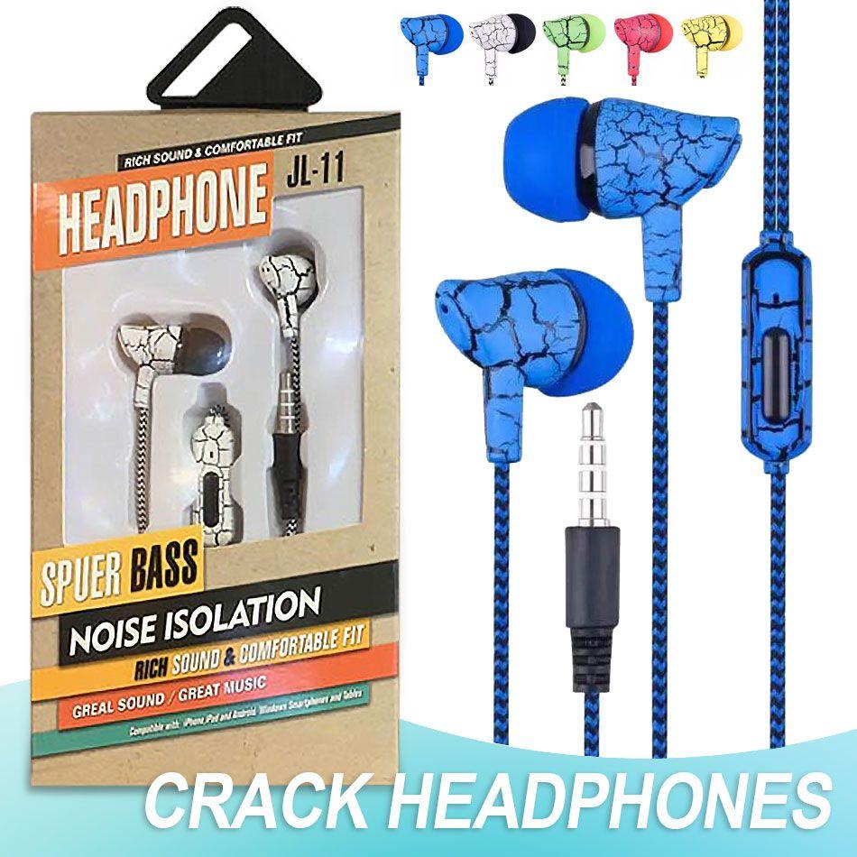 Casque In Ear Crack filaire écouteurs avec micro écouteurs stéréo 3,5 mm ligne de commande pour Huawei Xiaomi Smartphone Universal avec Retail Box