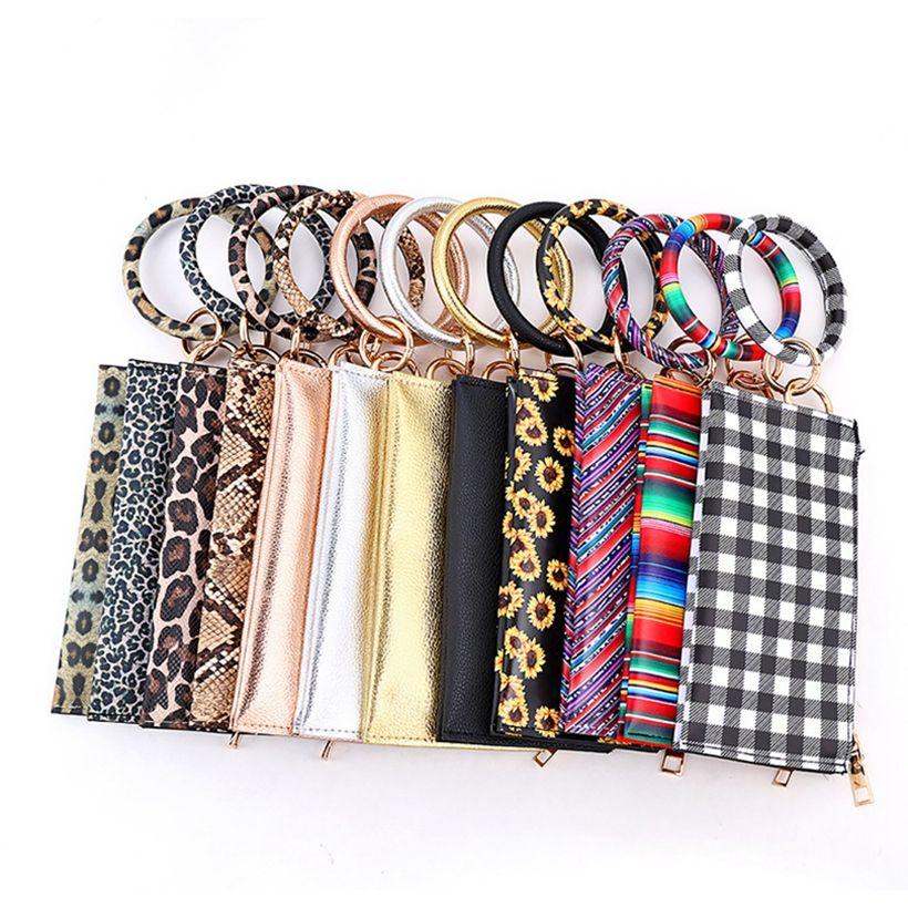 Girls Bracelet En Cuir Bracelet Porte-monnaie Porte-monnaie Femme Bracelet Sac Pu Mode Porte-clés Sacs Leopard HHA1400 DHHKH
