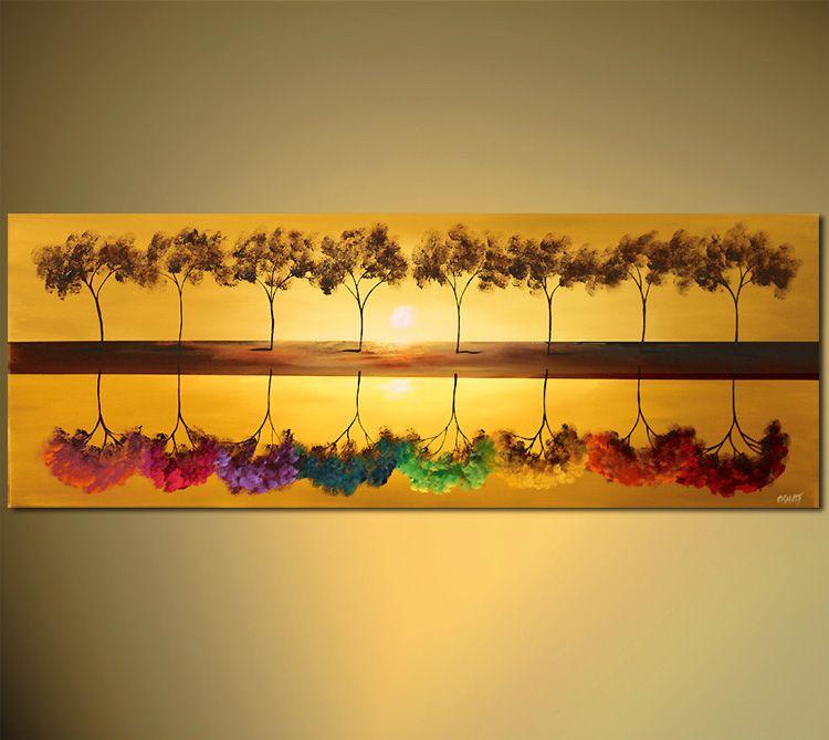 Enorme moderne abstrakte Kunst Baum-Blumen-Malerei-Landschaft Schöne Helle Ölgemälde Leinwand Landschaftswand-Kunst-Ausgangsdekoration