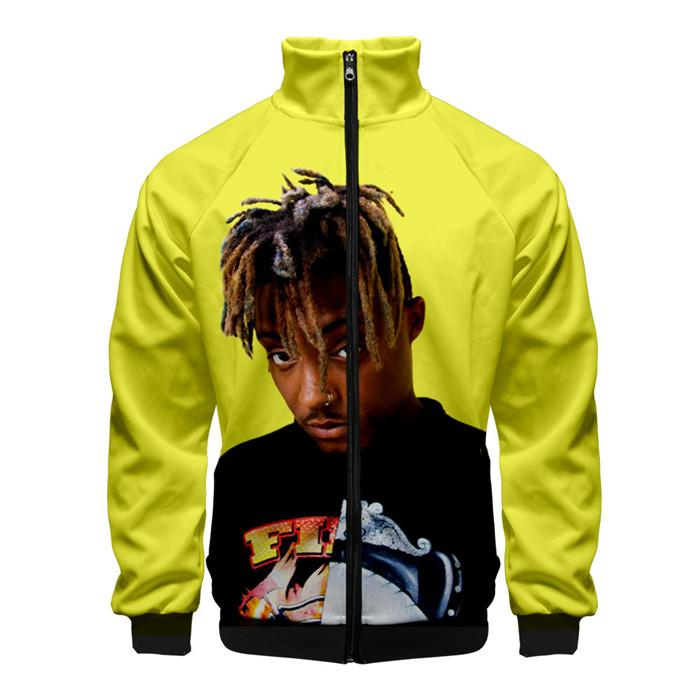 Juice Wrld Mens 3D Print Hoddies Cargigan Zipper Stand Collar Hip Hop Homme Clothing Fashion Style Long Sleeve Casual Apparel