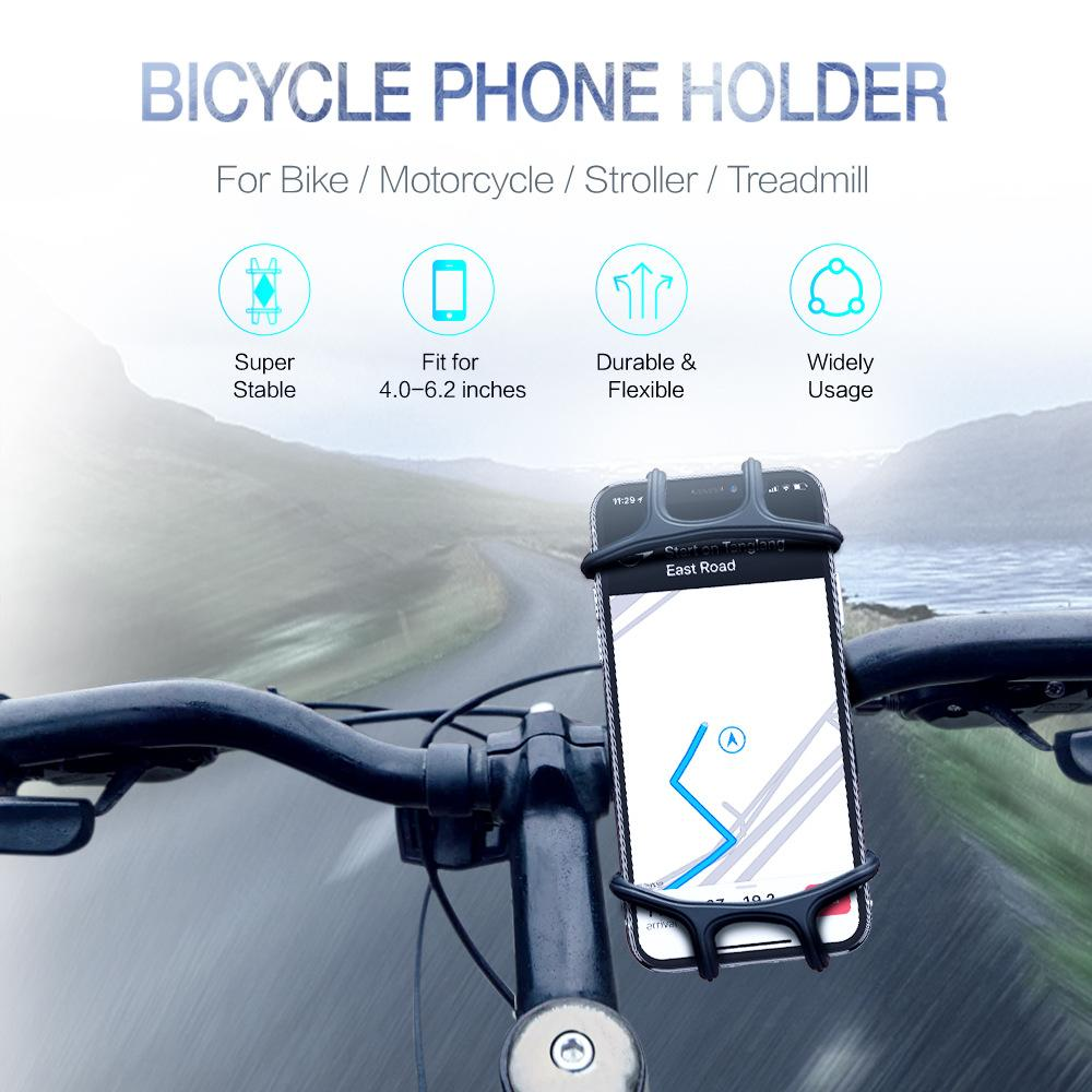Bicycle Phone Holder Silicone Soft Bike Handlebar Clip Stand GPS Mount Bracket For iPhone Samsung Mountain Motor 5.5 6.0