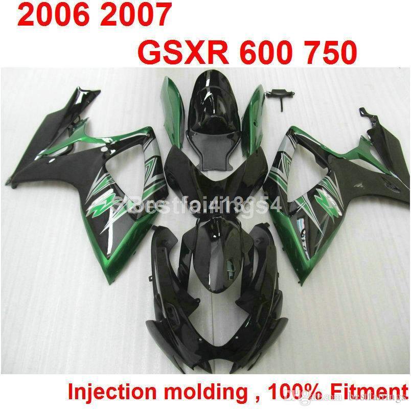 Kit de carénage de moulage par injection de vente chaude pour SUZUKI GSXR600 GSXR750 2006 2007 noir vert GSXR 600 750 06 07 RF56