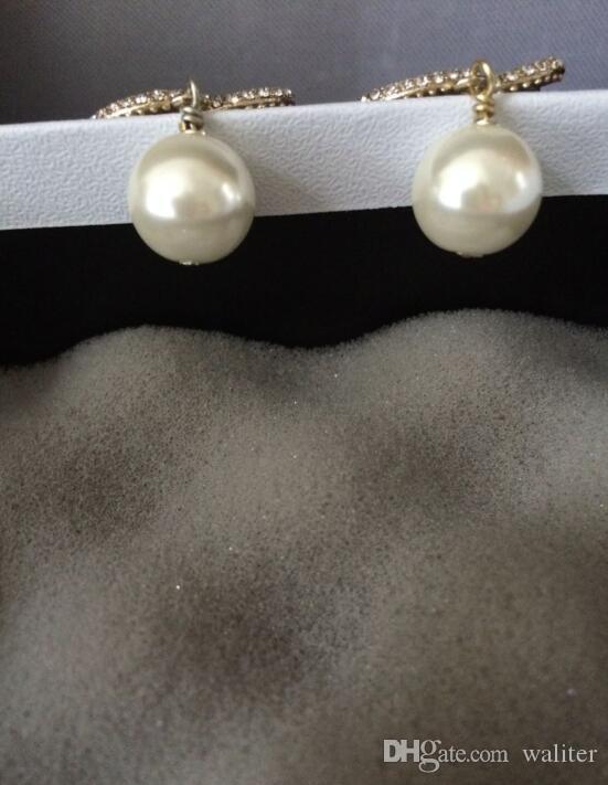 Nouveau! Mode Boucles d'oreilles! Goutte femmes perle bijoux accessoires Boucles d-oreilles perles avec des sacs de flanelle pour le cadeau