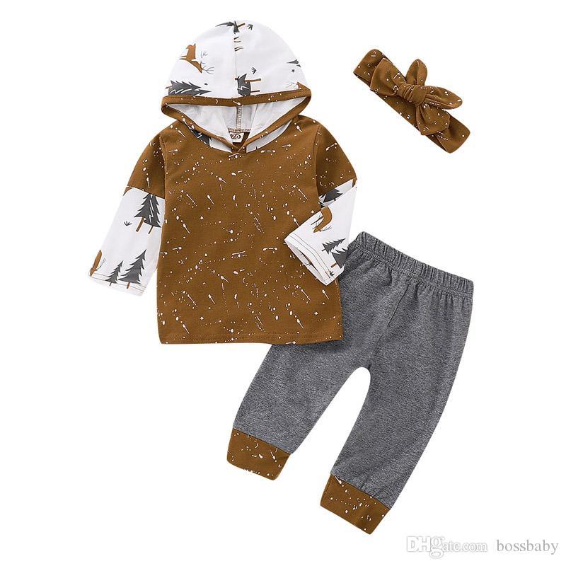 Set del fumetto appena nato del bambino infantile delle ragazze del ragazzo Cartoon Deer Antlers Colorblock con cappuccio per bambini vestiti casuali bambino rifornisce pantaloni con fascia 06