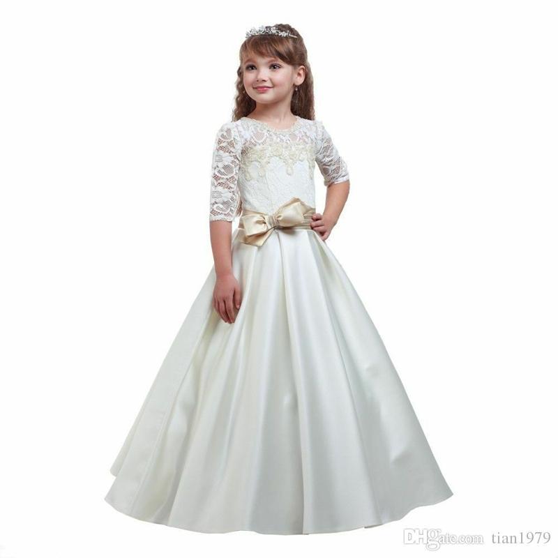 New Flower Girl Dresses V Back Ball Gown Communion Party Pageant Dress for Little Girls Kids Children Dress for Wedding