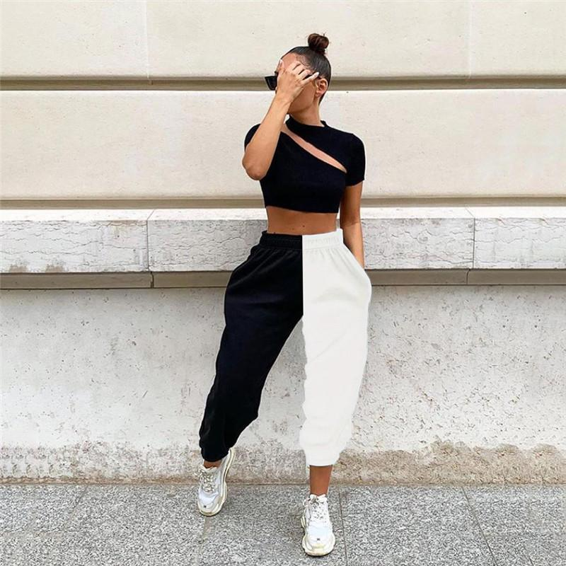 Sports Contraste Calças Cor Feminino Calças de cintura alta das mulheres dos retalhos colorida solto Manga comprida Calças Casual