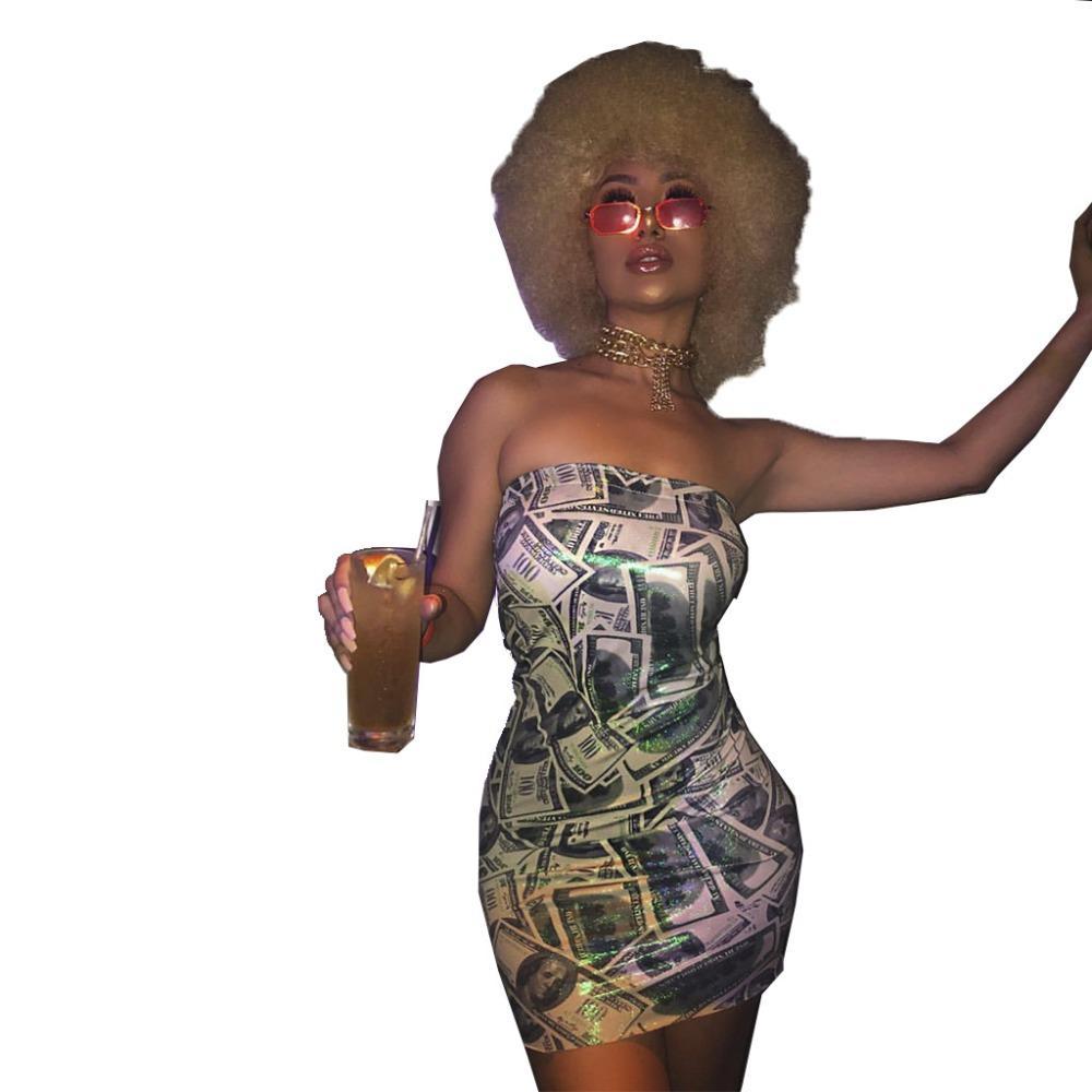 Women sexy Dresses Strapless Dollar Print Bandage Fashion Casual bodycon party club Mini dress vestidos HM-6030