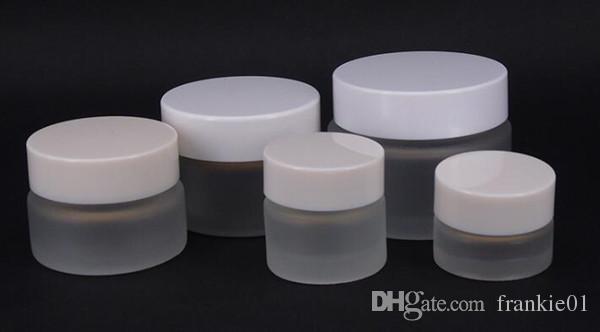 frasco transparente frasco de vidrio con tapa blanca 5 ml 5 g 10 g 15 g 20 g 30 g 50 g almacenamiento de crema cosmética cera jarra contenedor alijo personalizado