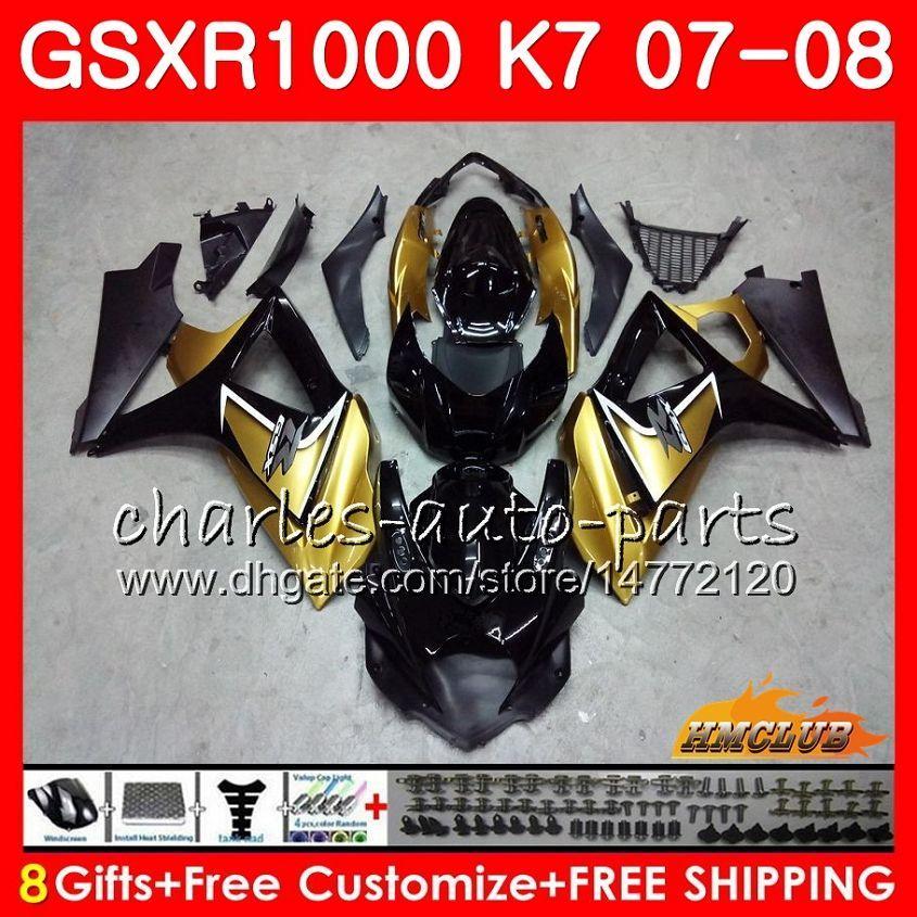 FAIRING FÖR SUZUKI GSXR 1000 GSX-R1000 K7 GSXR-1000 07 08 Bodywork 12HC.78 GSX R1000 GSXR1000 Black Gold Hot 07 08 2007 2008 Full Body Kit