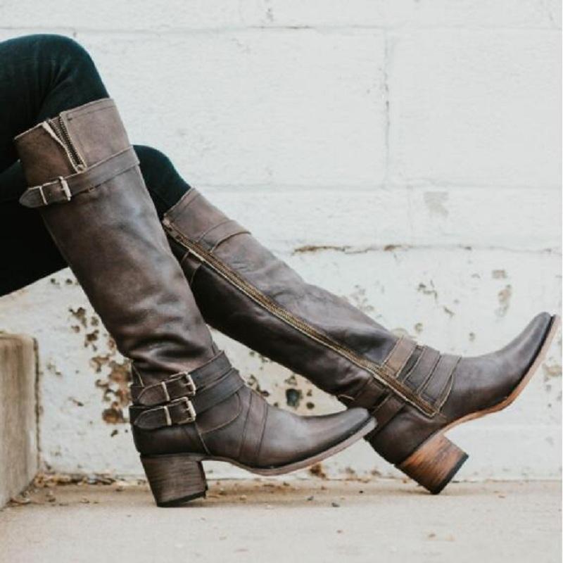 Hot Sale-Nova joelho alto botas mulheres inverno pu couro salto alto pontas toe sapatos cinta de fivela mulher do vintage de plataforma botas zapatos mujer