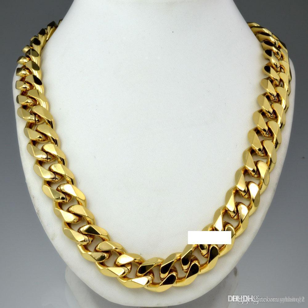 Ağır Mens 18k altın Katı Küba frenlemek Zincir kolye N276 60CM 50cm doldurdu