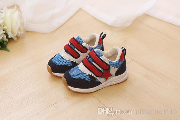 calçados esportivos casuais Primavera novas crianças na malha estrelas respirável sapatos de bebê fundo macio das crianças