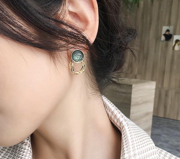 2020 New arrival popular retro Hongkong Japanese Korean version style simple temperament ear stud crystal gold plate stud for women jew0499#