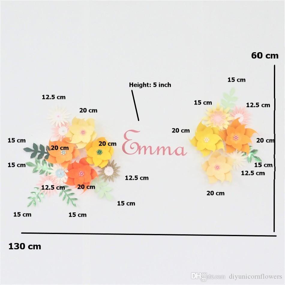 Hecho a mano de la flor de bricolaje flores de papel Ajustar el nombre de sesión Kit de decoraciones de la pared del cuarto de bebé Telón de fondo de la ducha pared del cuarto de las niñas