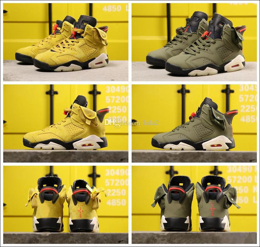 2020 New Travis Scotts Arrived Jumpman 6 OG Cactus Jack Glow In Dark 3M Reflective Blé jaune Hommes de basket-ball Chaussures de sport Chaussures de sport