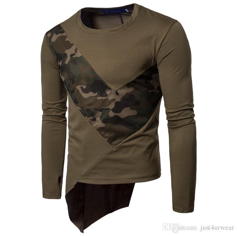 Kamuflaj Panelli Tasarım Tişörtleri Erkek Ekip Boyun Uzun Kollu Tişörtleri İlkbahar Sonbahar Casual Slim Hommes T-Shirt Tops