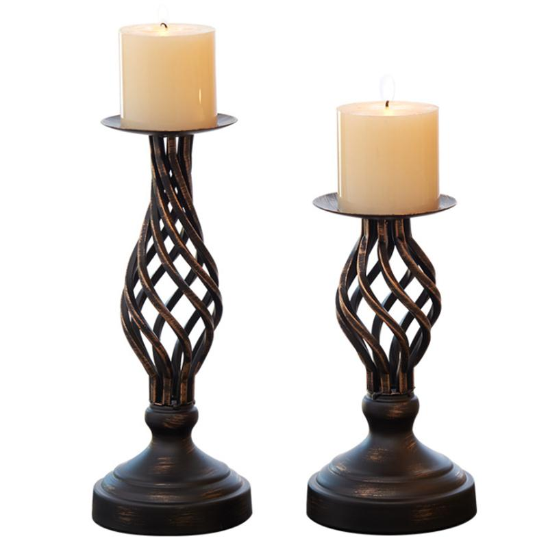 Black Europe Candle Holders Metal Iron Candlestick For Candelabra Stand Pillar Candelabra Home Wedding Decoration