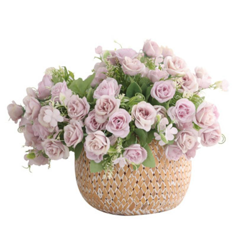 28cm Rose Bouquet Home Desktop Decoration Artificial Silk Flower Wedding Road Layout Flower Wedding Bouquet 10 Heads/bouquet