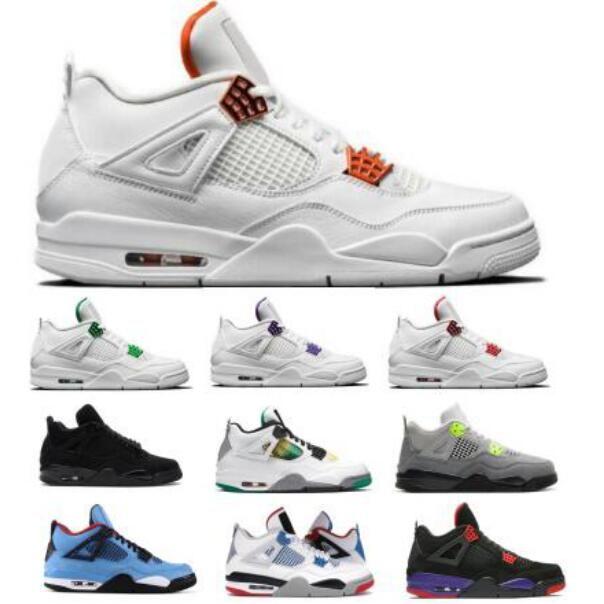Cheap 4 4s Men Basketball Shoes Metallic Pack Neon Black Cat Pure Money What The Raptors Lucid Orange Cactus Jack Women Outdoor Sneakers