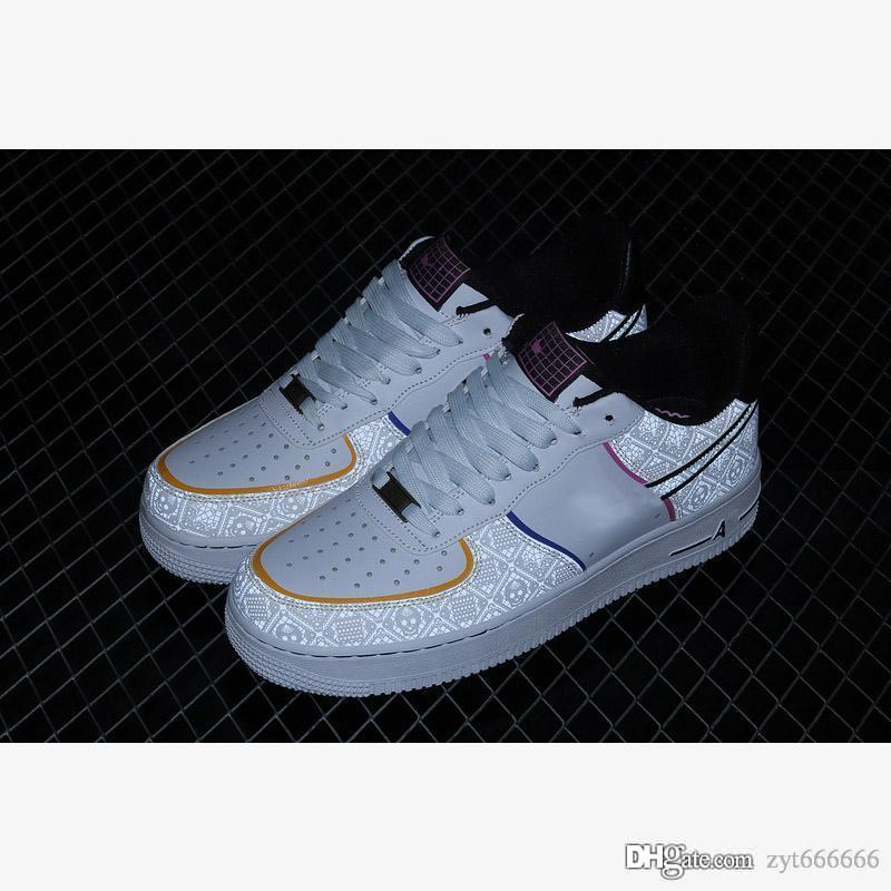 Nike Air Force 1 Low Day of the Dead 2020 Hot vente Chaussures de course CT1138-100 Forces 1 1s Low Chaussures de course Jour des Morts Blanc Black Multi Casual chaussures 36-45