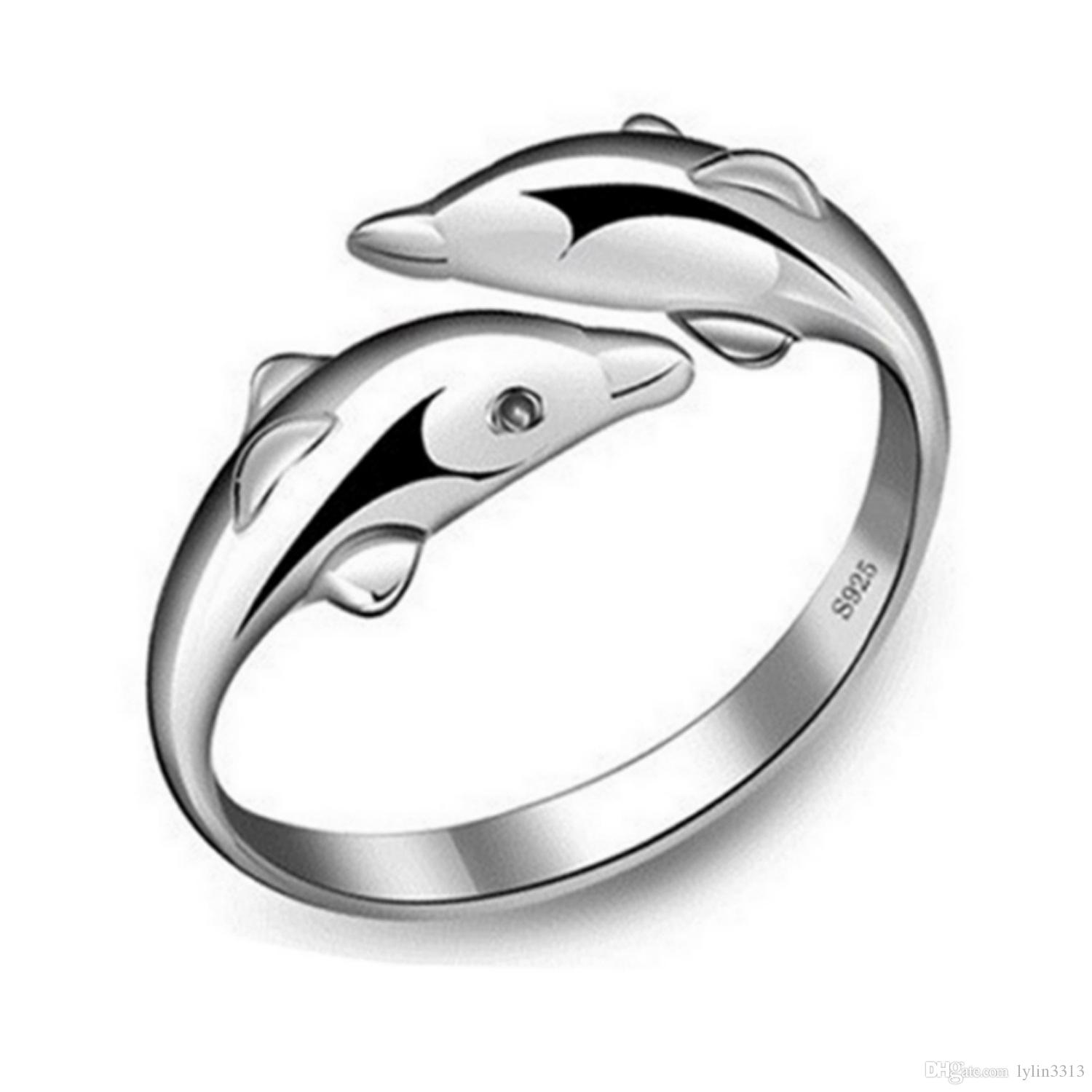 Metal New Factory Fashion Jewelry Opn Doliphin Finger Rings FOR GIRLS Lovely Alloy Ring Prom Giftn